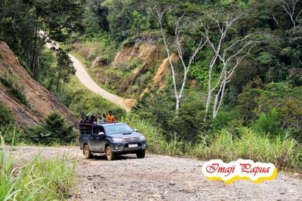 mobil hillux berplat kuning - angkutan umum yang menembus Distrik Mapia Tengah
